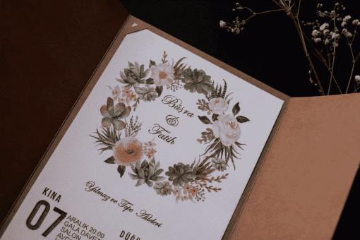 faire part floral Arc Pochette Camel