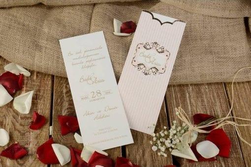 Faire Part Mariage Bande Rosée Finitions Dorée