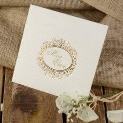 Faire Part Mariage Dorure Pochette Blanche
