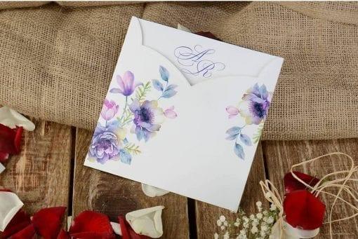 Faire Part Mariage Floral Bleuté