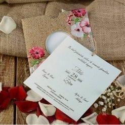 Faire Part Mariage Floral Effet Paille