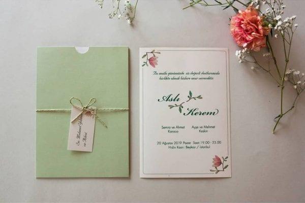 Faire Part Mariage Floral Pochette Pomme