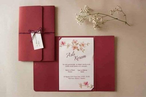 Faire Part Mariage Floral Pochette Rouge