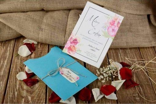 Faire Part Mariage Floral Pochette Turquoise