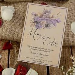 Faire Part Mariage Floral Pochette Violette
