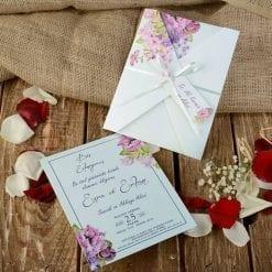 Faire Part Mariage Floral Rose Ficelle Blanche