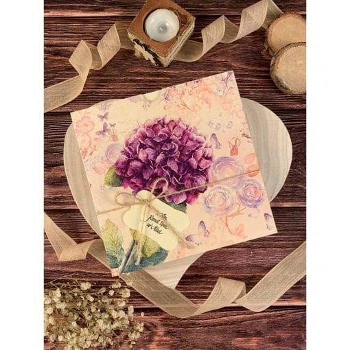 Faire Part Mariage Floral Violette