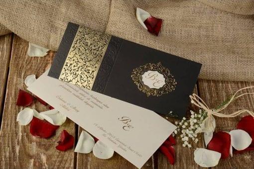 Faire Part Mariage Oriental Pochette Noir Finitions Dorée