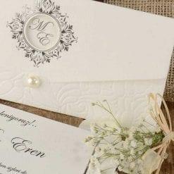 Faire Part Mariage Perle Pochette Blanche
