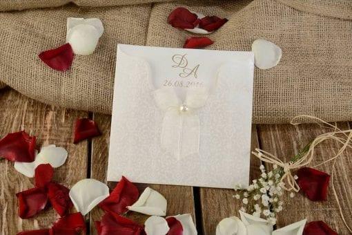 Faire Part Mariage Perle Sur Nœud Pochette Effet Dentelle