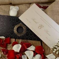 Faire Part Mariage Pochette Noir Finition Dorée