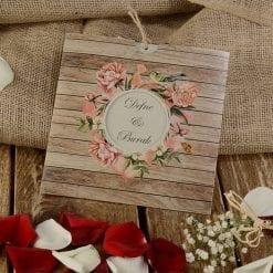 Faire Part Mariage Arc Floral Fond Effet Boisé