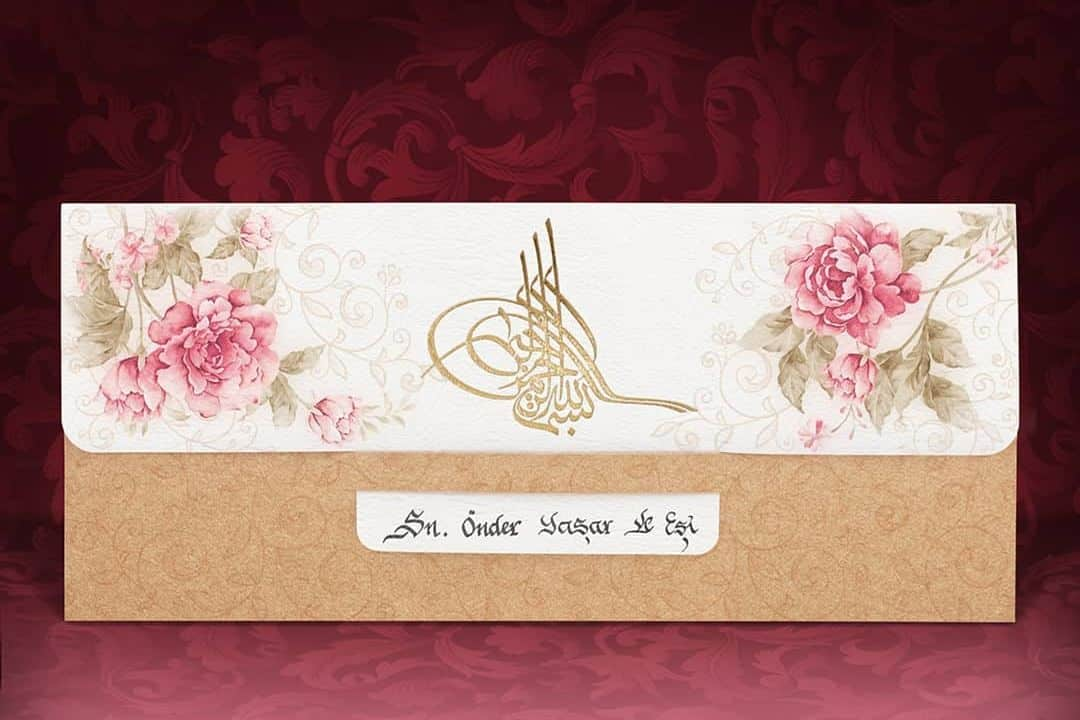 Faire part mariage oriental dore
