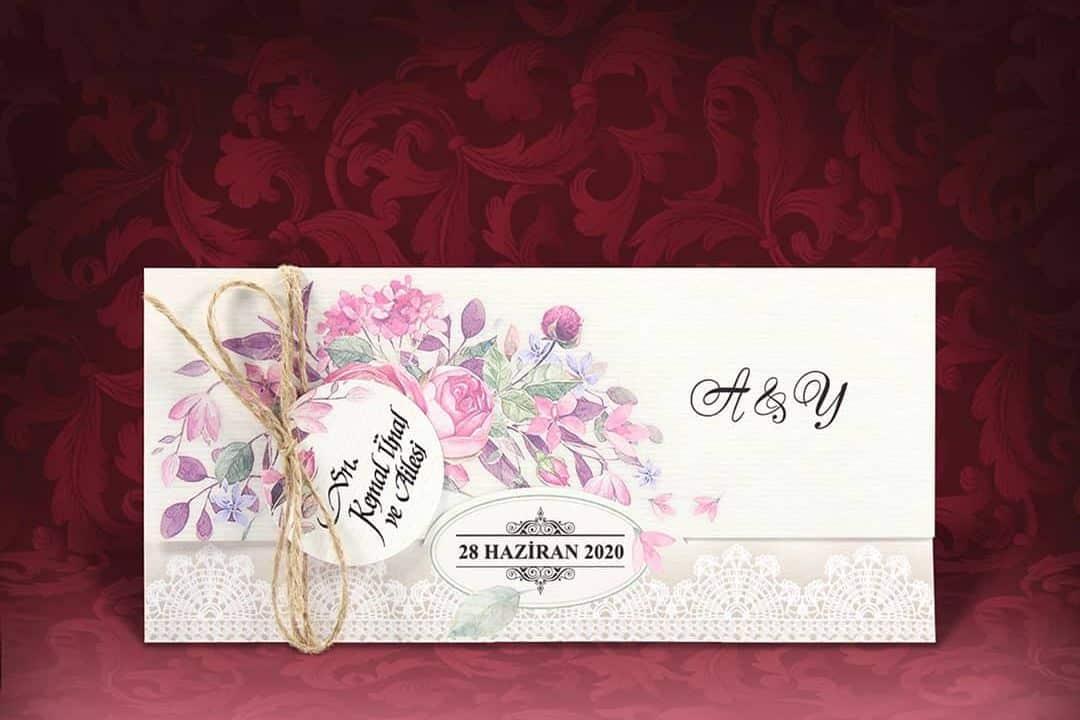 Faire Part Mariage Floral Finition En Dentelle