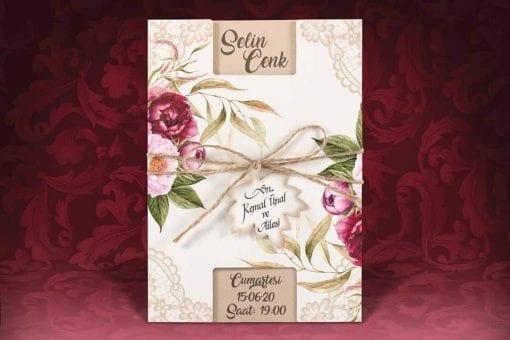 Faire Part Mariage Floral Pochette Blanche