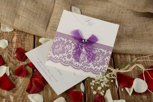 Faire Part Mariage Pochette Dentelle Violette