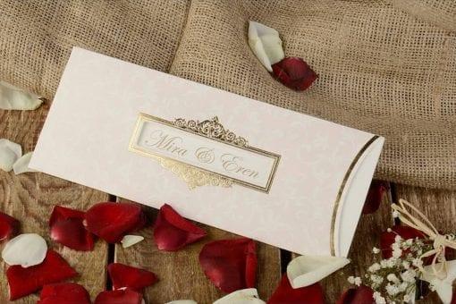 Faire Part Mariage Rose Pale Finition Dorée