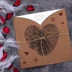 Faire Part Mariage Empreinte En Coeur