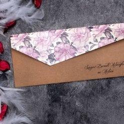 Faire Part Mariage Floral Fuchsia Kraft