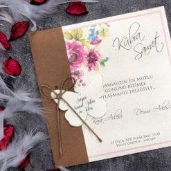 Faire Part Mariage Floral Papillon Finition Kraft