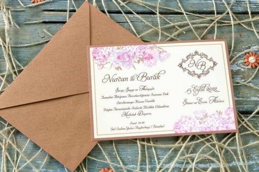 Faire Part Mariage Floral Pochette Kraft