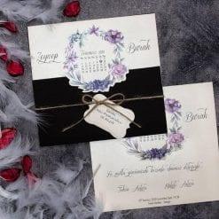 Faire Part Mariage Arc Violet Pochette Noir