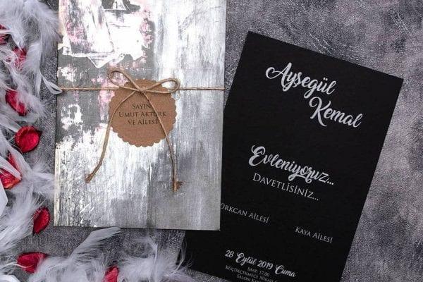 Faire Part Mariage Effet Peinture Carte Noir