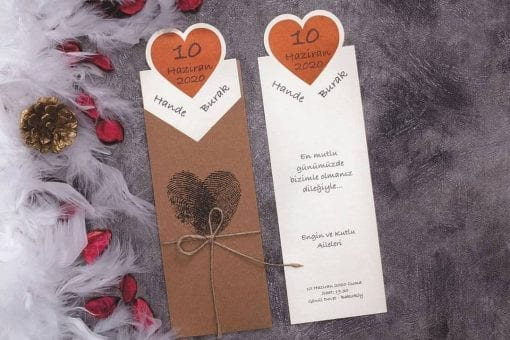 Faire Part Mariage Empreinte Coeur Pochette Kraft