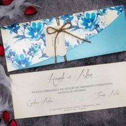 Faire Part Mariage Floral Bleu Turquoise