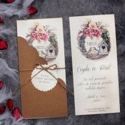 Faire Part Mariage Floral Nichoir Tourtereaux