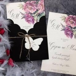 Faire Part Mariage Floral Pivoine Pochette Noir