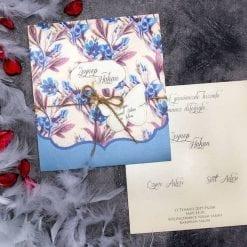 Faire Part Mariage Floral Plumbago Pochette Bleu