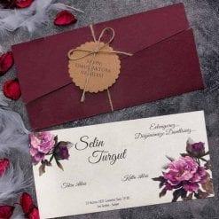 Faire Part Mariage Floral Pochette Bordeaux N30