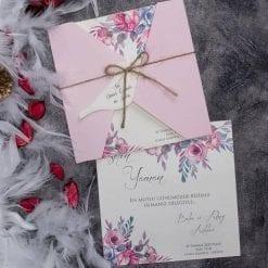 Faire Part Mariage Floral Pochette Rose N27