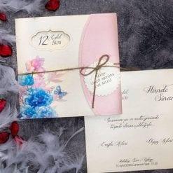 Faire Part Mariage Floral Pochette Rose N28