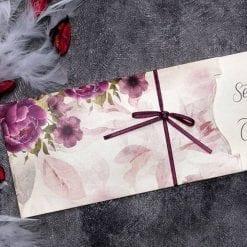Faire Part Mariage Floral Pochette Rose N31