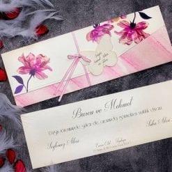 Faire Part Mariage Floral Rose Avec Ficelle N29