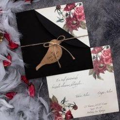 Faire Part Mariage Floral Rose Rouge Pochette Noir