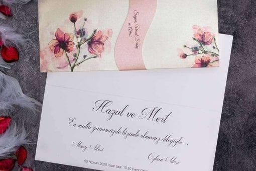 Faire Part Mariage Floral Rose avec Ruban