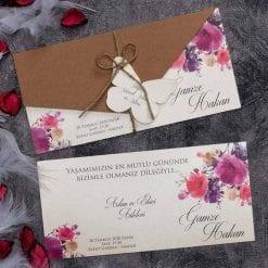 Faire Part Mariage Floral Violet Pochette Kraft