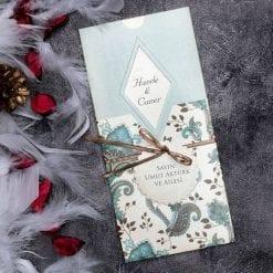 Faire Part Mariage Motif Floral Bleu
