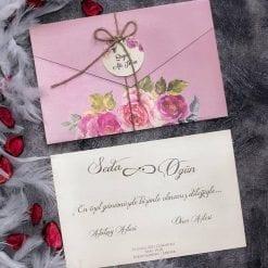 Faire Part Mariage Pochette Floral Rose Avec Ficelle