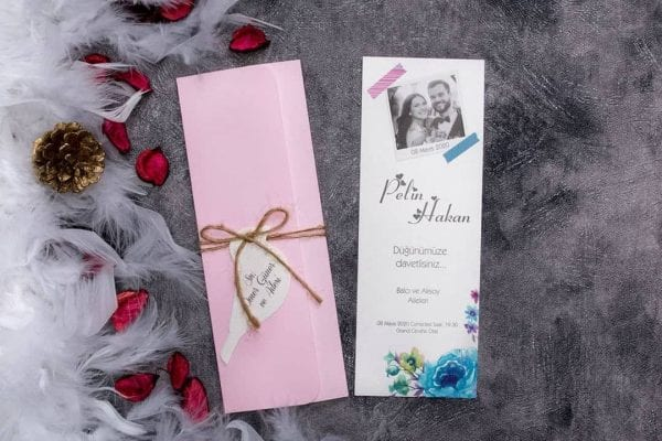 Faire Part Mariage Rose Et Bleu Avec Photo
