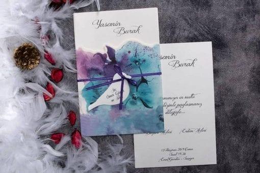Faire Part Mariage Violet-Bleu Avec Ficelle