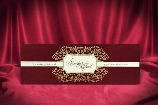 Faire Part Mariage Bordeaux Effet Velours Finition Dorée