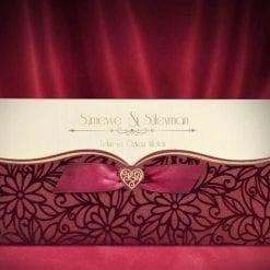Faire Part Mariage Coeur Doré Pochette Bordeaux