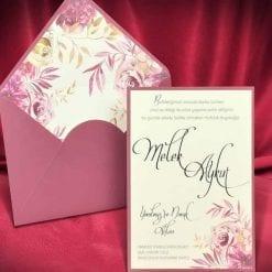Faire Part Mariage Floral Carte Et Enveloppe Rose