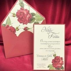 Faire Part Mariage Floral Enveloppe Bordeaux Et Rose Rouge