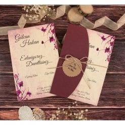 Faire Part Mariage Floral Pochette Bordeaux N32