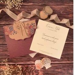 Faire Part Mariage Floral Pochette Bordeaux N33
